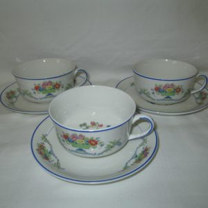 Beautiful Pope-Gosser China Tea Cups and Saucers 3 sets Made in the USA Blue trim Floral