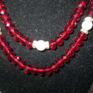 "Beautiful Red Glass Faceted Beaded Necklace with Rhinestones and faux pearls Stunning Glitter 34"" long"