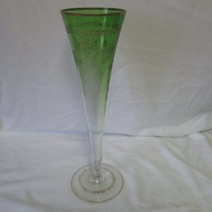"""Beautiful Victorian Large Horn Vase Etched with Gold Overlay Large Antique Flower Vase 14"""" tall Green to clear"""