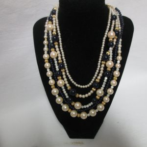 "Beautiful Vintage 5 strand Liz Claiborne Navy and Faux Pearls with Gold trim beads and clasp 20"" long"