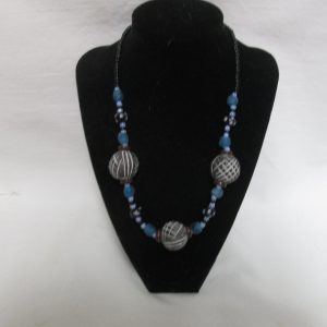 Beautiful Vintage Black Burgundy and blue beaded necklace glass with black polka dot beads & blue striped beads