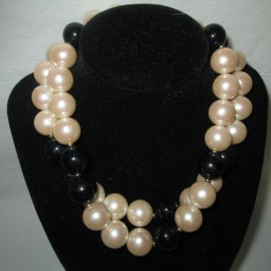 Beautiful Vintage Double strand Large Bead Black and white Necklace Gold separater beads and clasp