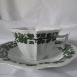 Beautiful Vintage Dresden Green and white demitasse tea cup and saucer Unique shape saucer and cup green ivy pattern