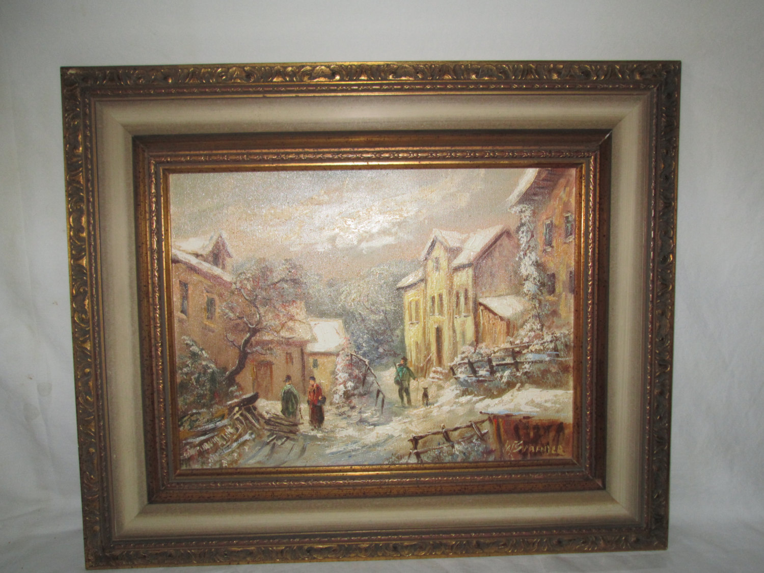Beautiful Vintage Framed Oil On Canvas Winter Scene Village With People  Signed Warm Colors Beautiful Wood