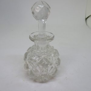 Beautiful Vintage glass perfume bottle with ground glass stopper mid century clear patterned glass display vanity collectible home decor
