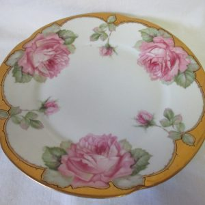 Beautiful Vintage hand decorated Cake Cookie Serving Tray Plate Floral with heavy gold Bavaria, Louise