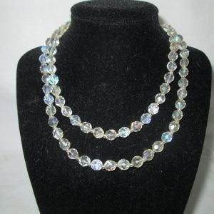"""Beautiful Vintage Long Crystal Necklace 30"""" long"""