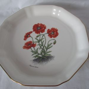 Beautiful Vintage Mayfair Staffordshire England Fine Bone China Poppy Plate wtih Gold trim and raised edges