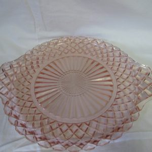"Depression glass pink waffle pattern serving platter with handles great condition 10"" across"