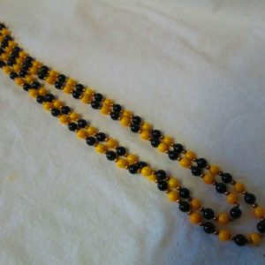 Did Someone say Bumble  Bee?  Fantastic Yellow and Black Summer Mid Century Beaded Necklace with Gold separator beads