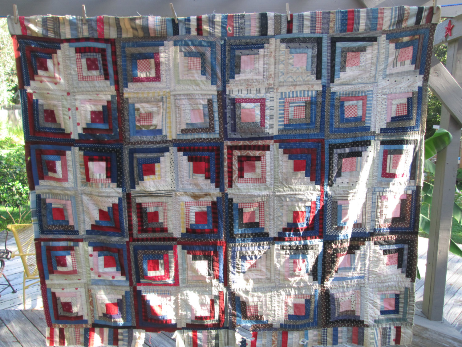 Early 1900's hand stitched quilt top unfinished needs repair/completion feed sack very neat piece