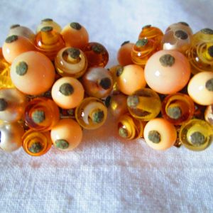 Fantastic 1950's Clip Earrings Beaded with Glass Swirl Beads