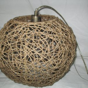 Fantastic 1950's Mid century Woven Twine hanging Lamp Woven twine ball circle retro working lamp display ceiling fixture