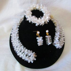 Fantastic 1950's White and clear Jewelry Set Bracelet Necklace and clip earrings Wow Vintage Costume Jewelry