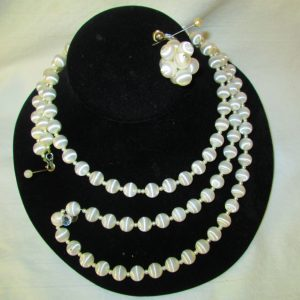 Fantastic 1950's White Silk Wrapped Beaded Necklace Faux Mini pearls between Short Necklace Long Necklace & Clip Earrings Sarah Coventry