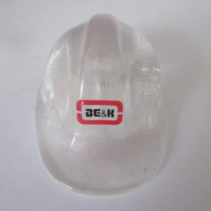 Fantastic Advertising Hard hat lucite Paperweight BE&K Engineering and Construction Collectible Man Cave Office Clear Lucite Hard hat