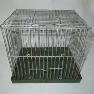 Fantastic Antique Animal Cage Small metal green metal base cage (mouse not included)