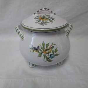Fantastic French Covered Double Handle Hand Painted Footed Bowl Dish Toureen Decor Pottery