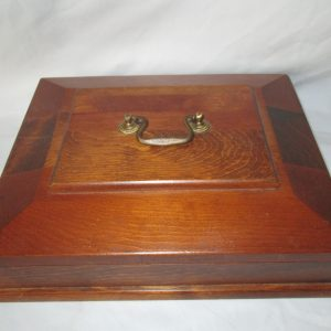 Fantastic Large wooend jewelry storage watch box Vintage from the 40's inset wood on top with brass handle