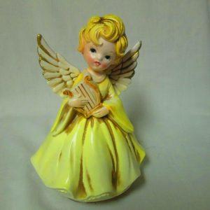 Fantastic Mid Century Chalkware Angel Figurine Music Player Musical Angel collectible display farmhouse Christmas Holidays home decor