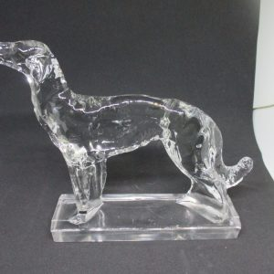 Fantastic Pair Clear Glass Greyhound Dog Bookends Art Deco Collectible display cottage farmhouse mod retro decor