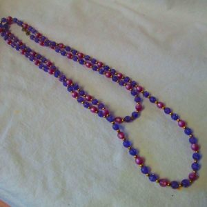 """Fantastic Purple Moonstone and lavender beaded necklace Mid century gold separator beads with gold clasp 53"""" long"""