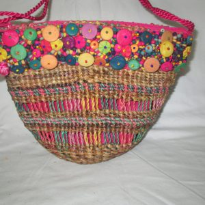 Fantastic Rattan Wicker Purse with wooden buttons and beads pink lining bright colors Wonderful!!
