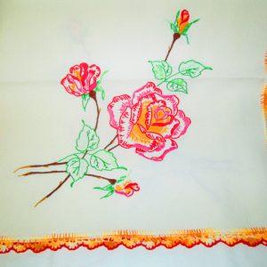 Fantastic Rose Floral Bright vivid Colors Hand Embroidered Dresser Scarf Bedroom Linens Hand Crochet work