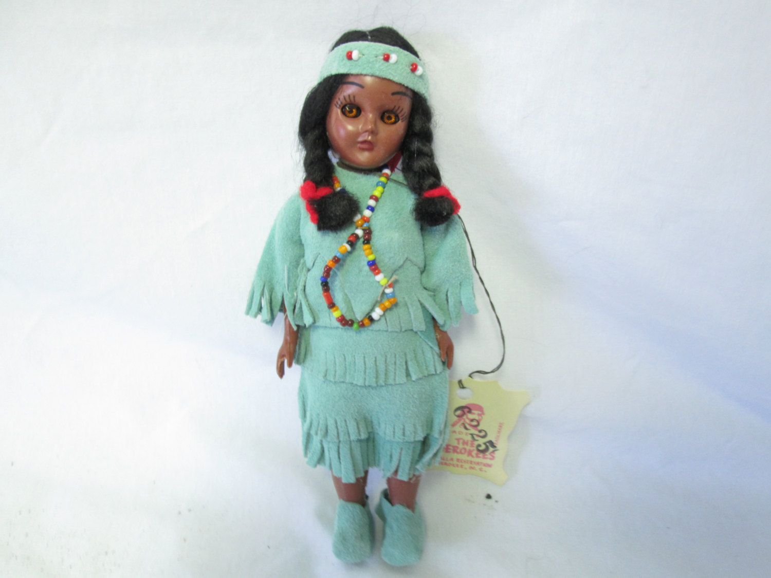 Hand Made Native American Indian Doll Leather Clothing Beaded Trim