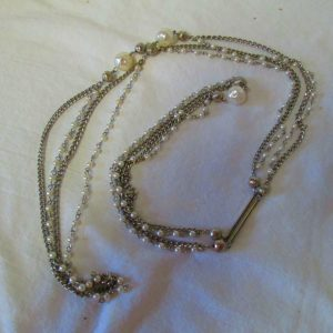 "Mid Century Silver tone Long Chain Necklace with Faux Pearls Costume Necklace Double Strand mini pearls and chain 55"" long"