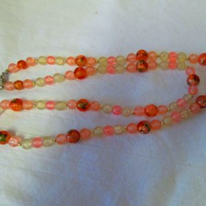 Mid Century Transparent Bead necklace peach pink white Silver tone clasp and space beads barrel clasp