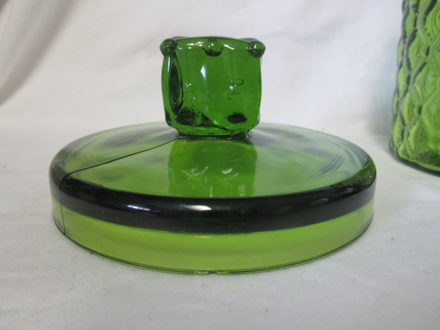 Mid Cenutry Green Glass Covered Quilted Pattern Glass Candy Dish
