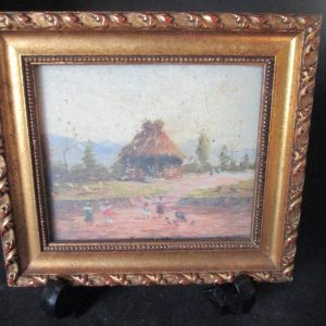 Miniature Framed Print Thatch hut with children  and animals in the front yard Maison LeCel Mid century gold wooden frame decor wall art