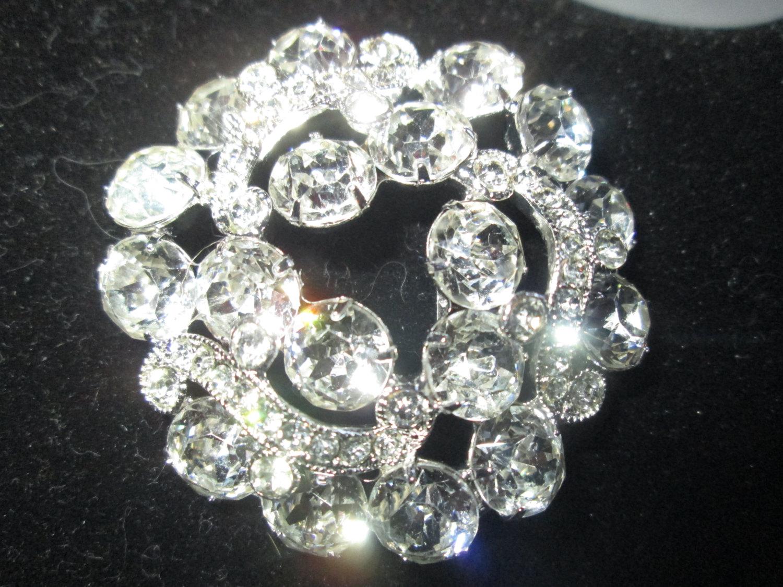 18f7de679 Most Beautiful Large Rhodium Plated Eisenberg Ice Brooch Rhinestones Large  Fantastic Pin Signed Jewelry WOW Piece
