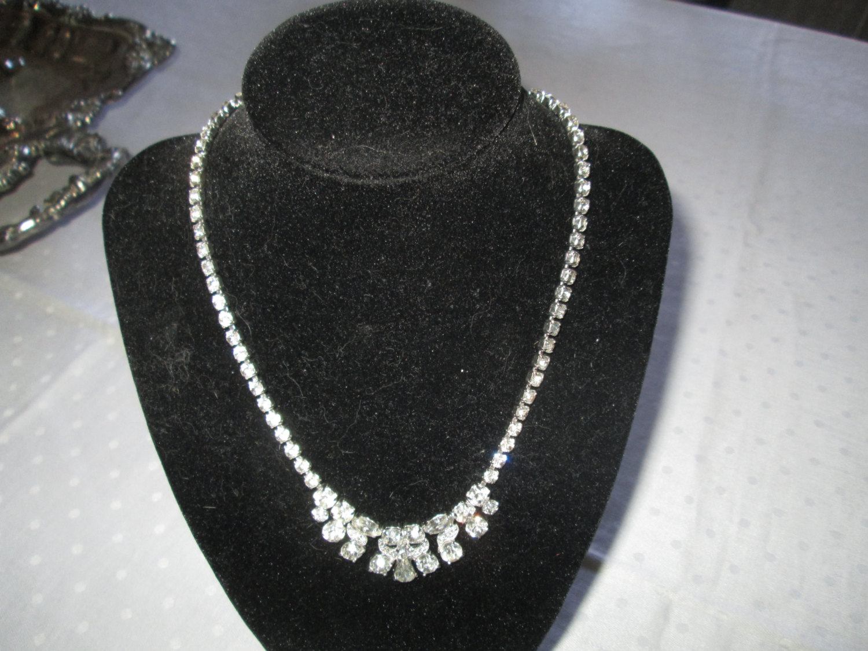 3f0d667b0 Most Beautiful Large Rhodium Plated Eisenberg Ice Necklace Rhinestones  Signed Jewelry WOW Piece Wedding Evening Jewelry