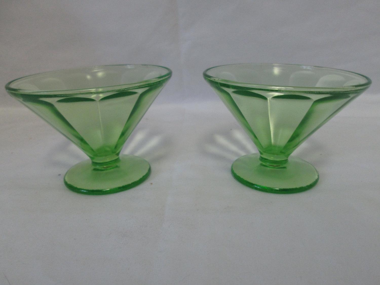 Pair of Sherbet cups depression glass green Uranium glass ...