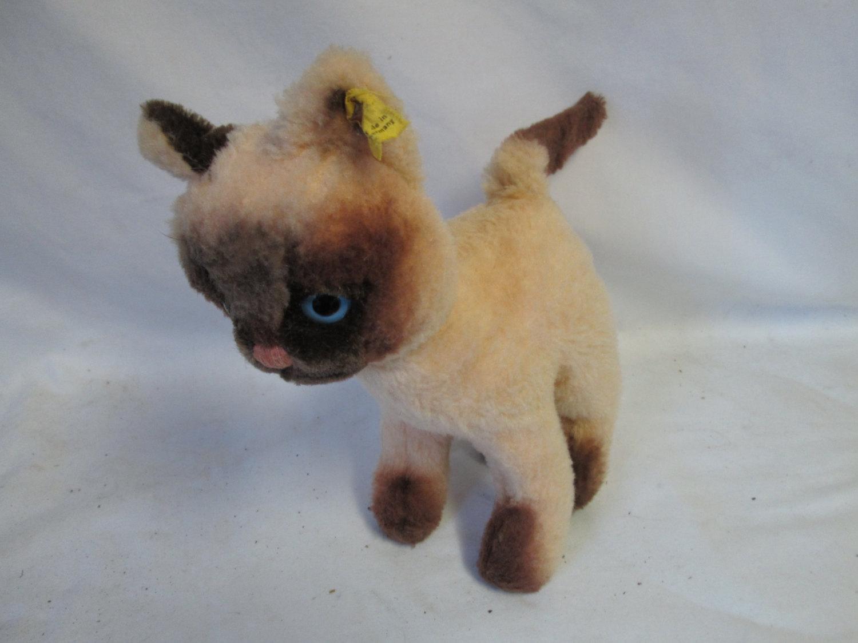 rare vintage steiff sanding blue eyed siamese kitty cat germany w
