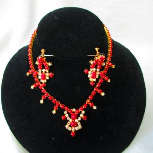 Red and Rhinestones Beautiful L.Davids Mid Century Fantastic Necklace with matching Screw back Earrings