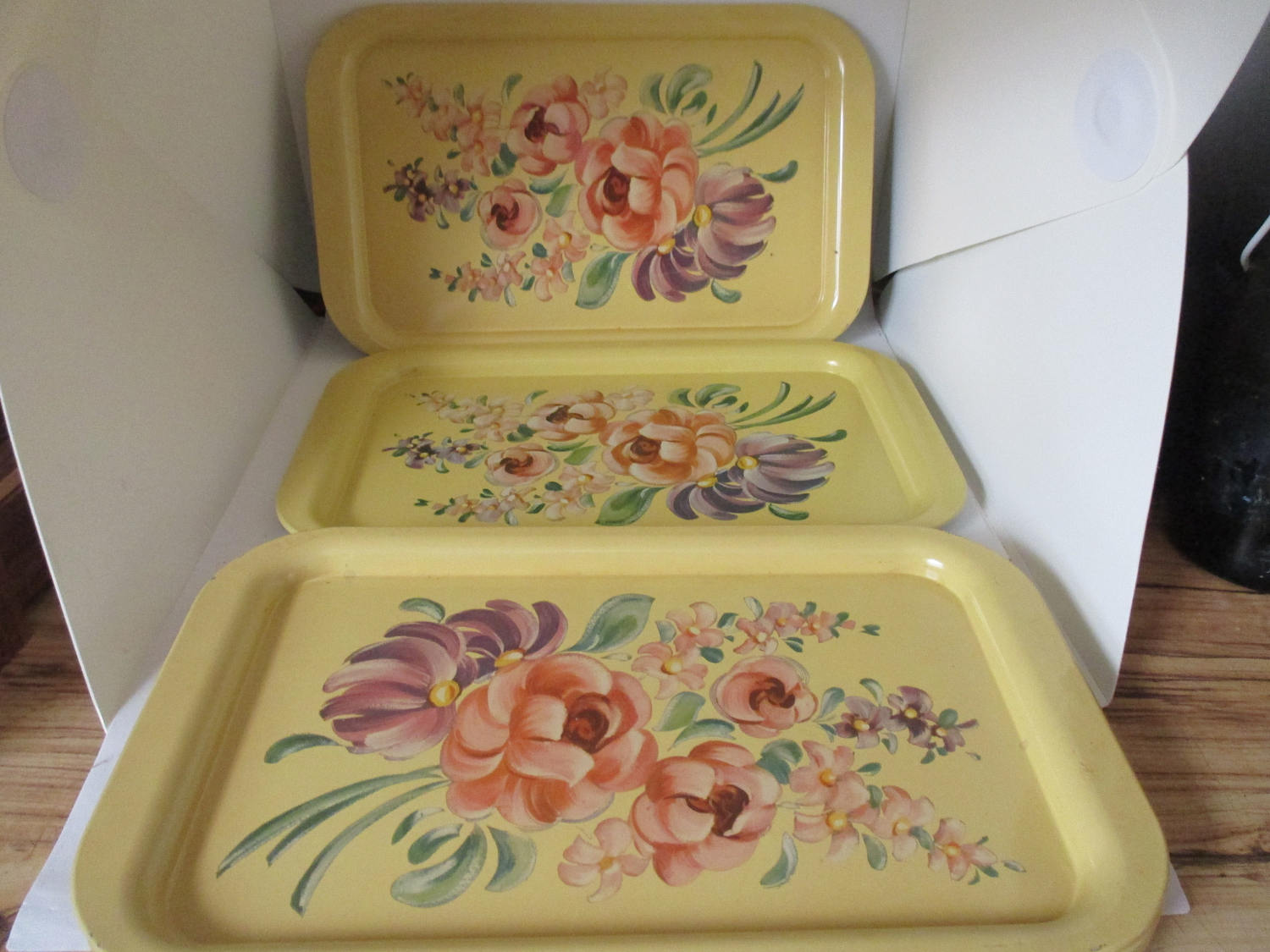 Charmant Set Of 6 Metal Serving Trays Floral 1950u0027s Dining Serving Kitchen Dining  Collectible Farmhouse Mid Century