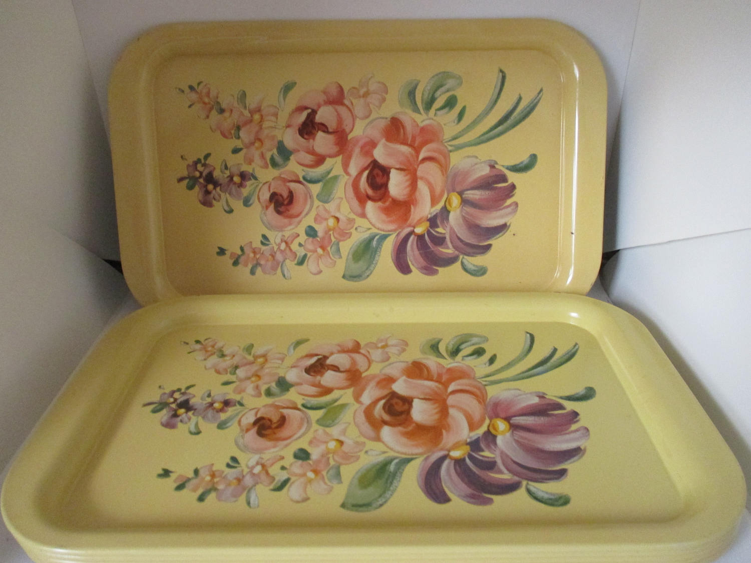 Set Of 6 Metal Serving Trays Floral 1950u0027s Dining Serving Kitchen Dining  Collectible Farmhouse Mid Century