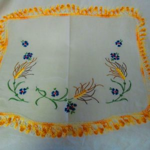 Stunning Bright Embroidered Flowers with Wheat Bright Yellow Varigated Crochet Trim Dresser Scarf Great Design