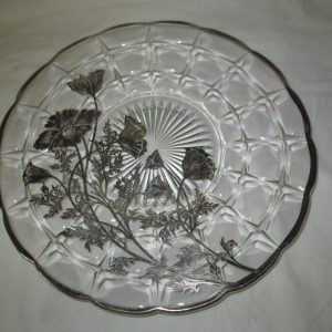 Stunning Silver Overlay Floral Large Serving Tray Plate Platter
