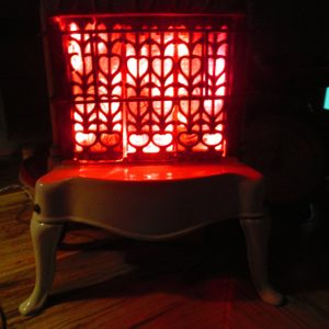 Upcycled Repurposed Enamel Gas Stove Night Light LED burning electric door stop decor fireplace