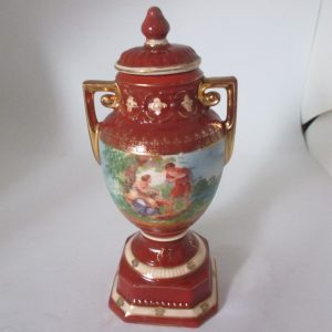 Victorian Era Covered hand painted Urn vase figurine Courting couples front & back collectible display cottage Victorian decor Erphila Czech