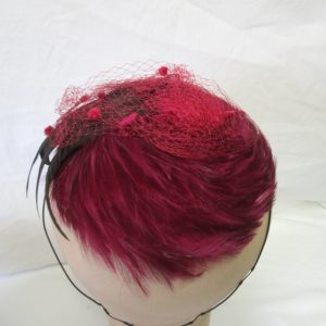 Vintage 1940's Feather Cap Hat Hair ornament Flapper Bright pink & black, lined with black wool some pink netting Hair accessory Mini Hat
