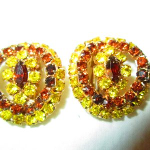 Vintage 1950's Clip Earring Yellow and Amber Rhinestones