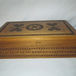 Vintage 1960's wooden hand carved ornate box Poland Very clean great condition original label on bottom Very Ornate Detail