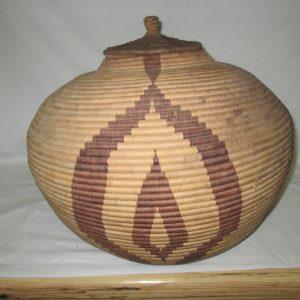 "Vintage African Handmade Basket Large with Lid Estate Sale find 1960's Very nice piece 50"" around"