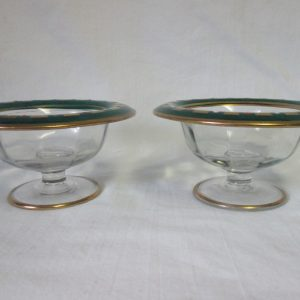 Vintage Art Deco pair of Enameled on Glass Compotes Clear glass with Green Turned rims Gold Green red white pedestal bowls