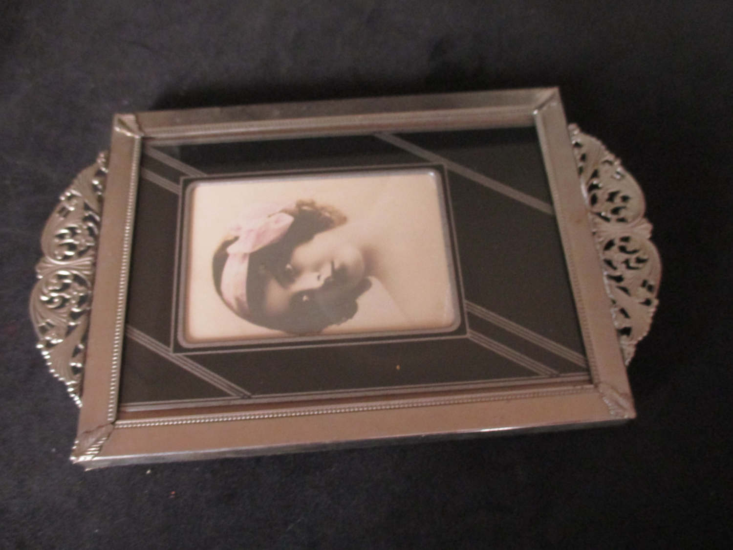 Vintage art deco tray with art deco photo silver metal for Decoration art deco